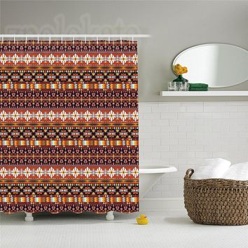 Native American Decor Shower Curtain Set Seamless Colorful Abstract Geometric Aztec Composed With Arrow Pattern Bathroom
