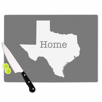 "Bruce Stanfield ""Texas Is Home"" White Gray Cutting Board"