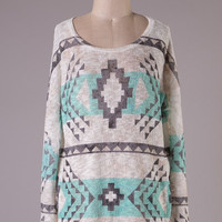 Aztec Tunic Sweater - Mint and White
