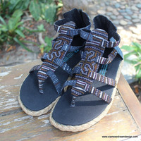 Boho Womens Gladiator Sandals In Brown Hmong Embroidery Vegan Summer Shoes Isadora