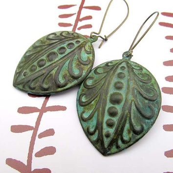 green Art Deco earrings Patina Verdigris jewelry