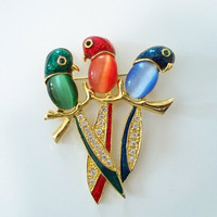 Vintage Three Parrots Jelly Belly Brooch - Bird Pin - Item 959-1