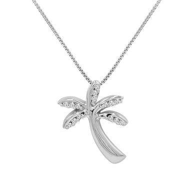 Diamond Palm Tree Pendant-Necklace in Sterling Silver on an 18 inch Chain