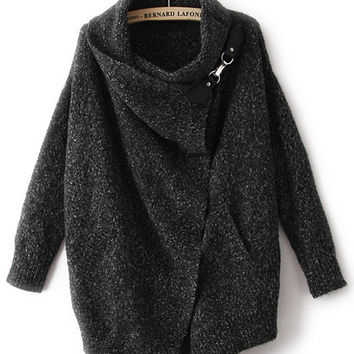 Black Long Sleeve Knitted Wrap Cardigan