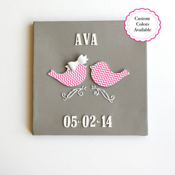 Love Birds Nursery, Bird Nursery Decor, Baby Girl Wall Decor, Custom Nursery Art, Bird Nursery Art, Baby Girl Room, Baby Girl Art