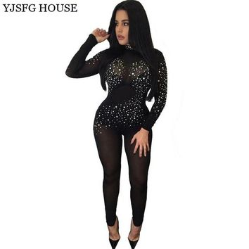 LMF78W YJSFG HOUSE Sexy Elegant Hollow Out Sequins Jumpsuit Long Sleeve Autumn Bodysuit Mesh Slim Overalls Playsuit Clubwear Catsuit