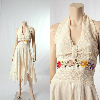 Vintage 70s 80s Mexican Embroidered Floral Gauze Crochet Dress 1970s 1980s Handkerchief Scarf Hem Halter Cotton Hippie Wedding Boho Dress