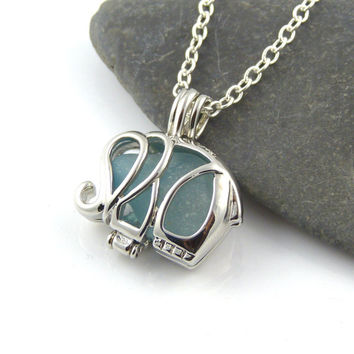 Silver Elephant Charm Aqua Sea Glass Locket Necklace