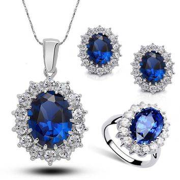Gemstone necklace earrings set ladies high-grade crystal diamond