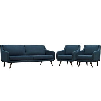 Verve Living Room Set Set of 3, Azure -Modway