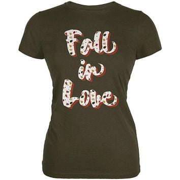 Autumn Fall in Love Leaves Pattern Juniors Soft T Shirt