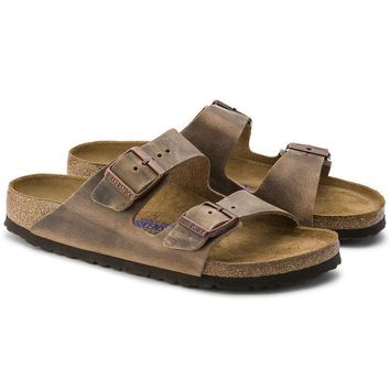Birkenstock Arizona Soft Footbed Oiled Leather Tobacco Brown Sandals