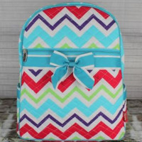 Large Multi Color Chevron Zig Zag Quilted Backpack  Full Size  School Bag  Book Bag  Diaper Bag  Birthday   Overnight Bag  Back to School
