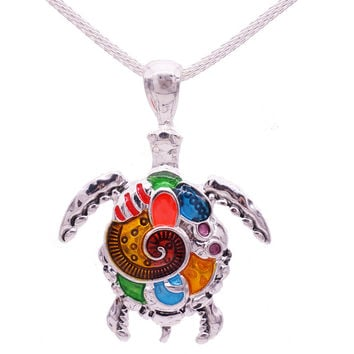 Fashion Animal Turtle Pendants Bright Necklace