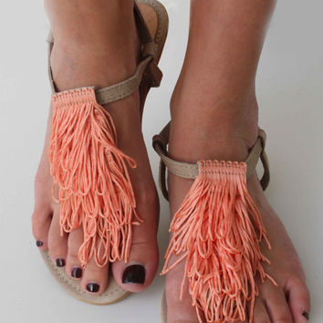 Leather Suede Sandals - Leather and coral Sandals - Coral Sandals - Spetses Sandals