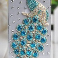 2013 New Hotsale the Peacock Diamond Shell Apple Iphone5 5s Shell Phone 5 Phone Shell Paste Drilling Case Tiffany Blue Sky Blue Colore Peacock Retail and Wholesale