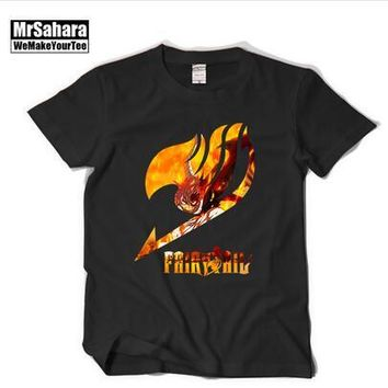 Anime Fairy Tail T shirts Natsu Dragneel Lucy Heartphilia Erza Scarlet T-shirt For Men and Women Casual Cotton Top Tees