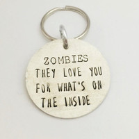 Hand Stamped Zombie Keyring - Walking Dead Keychain - Zombie Couple Keyring - Zombie Couple Keychain - Walking Dead Keyring - Zombie Love