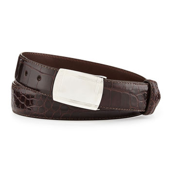 Glazed Alligator Belt with Sterling Silver Plaque Buckle, Chocolate (Made to Order)