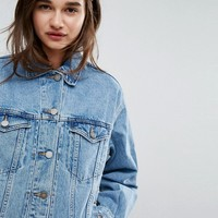 ASOS RECYCLED Denim Girlfriend Jacket in Missouri Blue Wash at asos.com