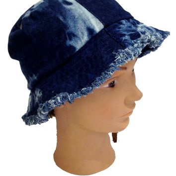 Mens Womens Denim Tie Dye Bucket Hat Cotton Sun Beach Festival Fishing Cap 57 cm