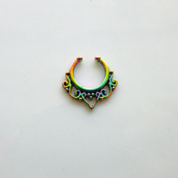 RAINBOW FAUX Septum Piercing : Festival Jewelry, Faux Jewelry, Body Piercings, Gold, Bohemian, Hippie