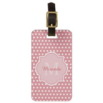 Cute Pink Polka Dots With Girly Monogram and Name Tag For Luggage
