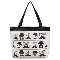 JAVOedge Mustache Canvas Shoulder Tote Bag with Zipper Closure