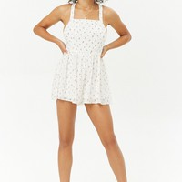 Rose Print Crisscross Back Romper