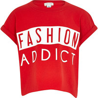 River Island Girls red gloss fashion addict t-shirt