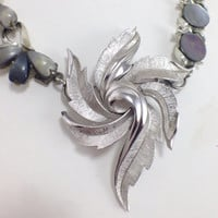 Silver tone Trifari Leaf Necklace, Re purposed Vintage Jewelry, Assemblage, Gray