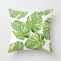 Monstera Throw Pillow by Michaela Ramstedt