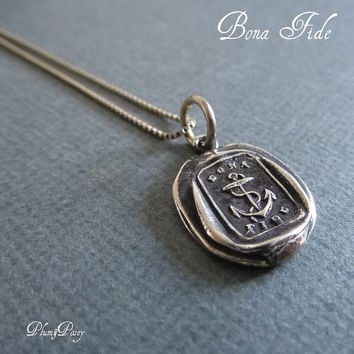 Anchor Necklace - Wax Seal Necklace, Bona Fide - Hope and good faith - Anchor Jewelry