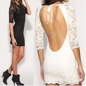 Backless Lace Hot Sale One Piece Dress [6281467844]