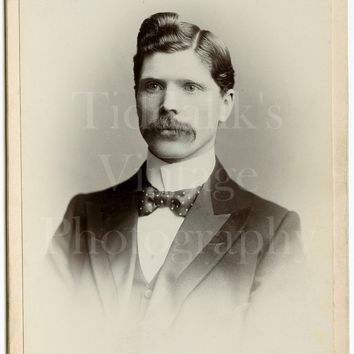 Cabinet Card Photo Victorian Dapper Young Mustached Handsome Man, Quiff, Polka Dot Bow Tie, Portrait - A E & C Fox of Bradford - Antique