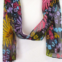 Silk scarf Accessory. Hand Painted Dyed. Unique Gift for her.  Devore cut silk. Floral design. Handmade in NY Hudson Valley.