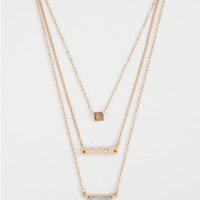 Shimmering Layered Geo Trio Necklace