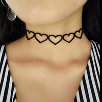 Vintage 90's Black Velvet Leather Heart Lace Choker Necklace Women Harajuku Butterfly Flower Gothic Chokers Handmade Necklaces