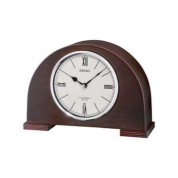 Seiko Rounded Desk or Table Clock - 12 Melodies & Chime - Dark Wooden Case