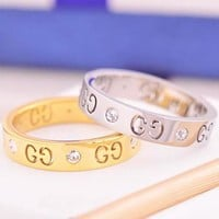 GUCCI Popular Ladies Men Logo Hollow Geometric Pattern Diamond Ring Titanium Steel Tail Ring Joint Ring