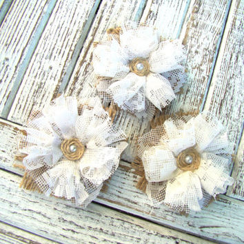 Rustic Burlap Flowers Set of 3 handmade fabric rosettes with lace Cake topper Burlap roses Wedding Flower Hessian Flowers Decor Party Favor