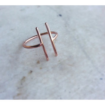Parallel ring, minimalist ring, geometric ting, adjustable ring, contemporary jewelry, gold pink plated, bar ring