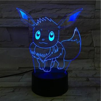 16CM Cartoon Pokemon Go Eevee 3D Lava Lamp Christmas 7 Color Changing LED Night Light Mood Decor Gift Bedroom Table Lamp