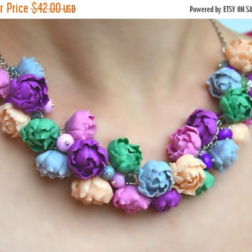 ON SALE FREE Earrings! Flower necklace. Peonies necklace. Flower jewelry. Purple gray pink green necklace.