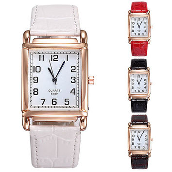 2015 New Hot Hot Fashion Men Women Watches Leather Band Square Dial Quartz Analog Wrist Watch 1MYV 4CZB 6T31 W2E8D