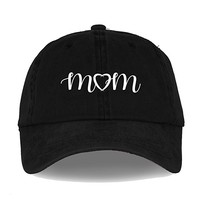 Mothers Day MOM and Heart Embroidered Unstructured 6 Panel Adjustable Strap Dad Cap Style Hat