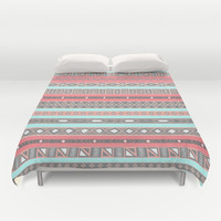 Peach Rose Baby Blue Aztec Tribal Native Pattern Duvet Cover by RexLambo