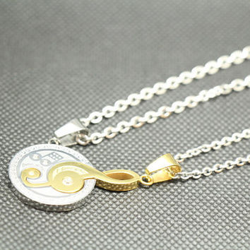 A pair of love lovers necklace,music necklace,couple necklace,lovers necklace,promise necklace