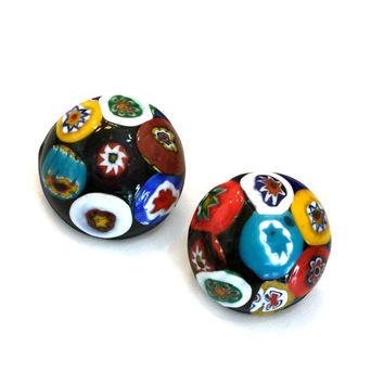 Art Deco Millefiori Glass Earrings, Round Glass Cabochons, Brass Tone, Early 1900s