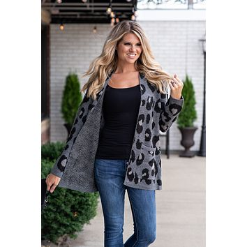 Cozy & Cute Leopard Cardigan : Grey
